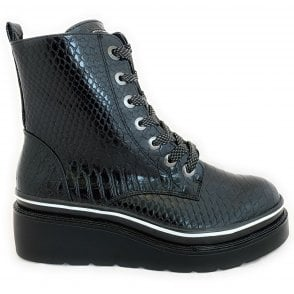 431-77031 Marcella Black Reptile Print Ankle Boots