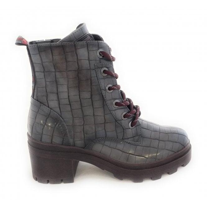 Bugatti 431-77434 Frieda grey Croc Print Heeled Ankle Boots