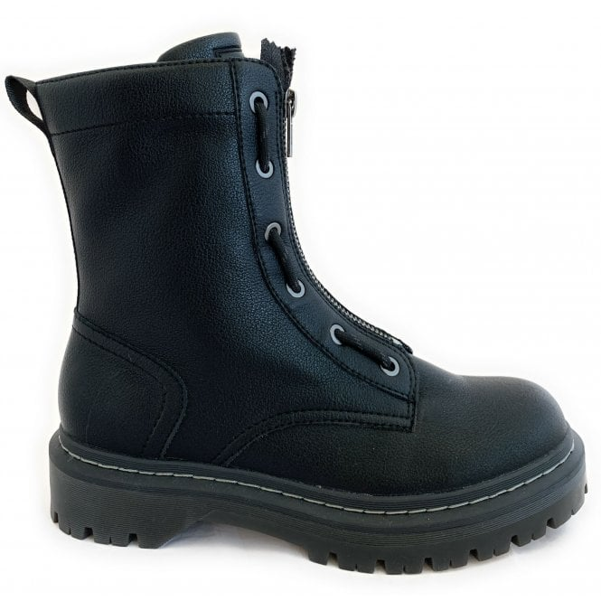 Bugatti 431-A4P32 Big Black Faux Leather Ankle Boots