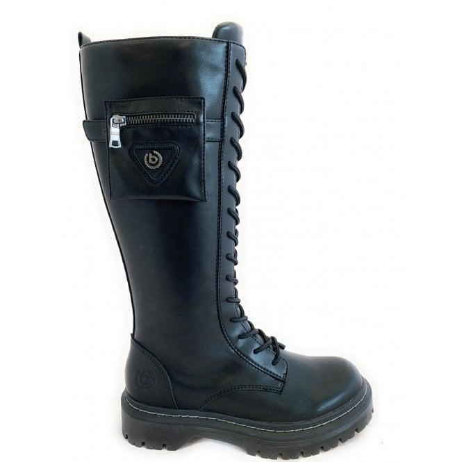 Bugatti 431-A4P33 Big Black Leather Knee High Boots