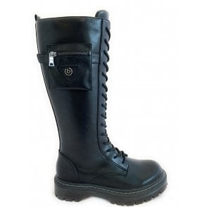 431-A4P33 Big Black Leather Knee High Boots