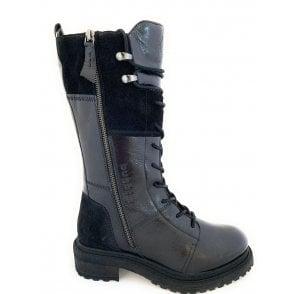 431-A4Q33 Sansa Black Leather Knee High Boots