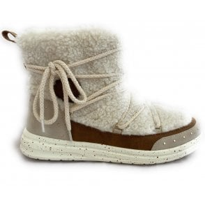 431-A4W30 Gin Beige Suede and Faux Shearling Ankle Boots