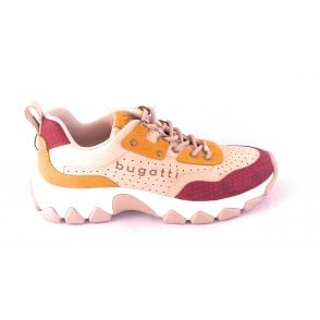 432-95202 Yuki Burgundy and Beige Trainers