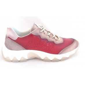 432-95206 Yuki Red and Beige Trainers