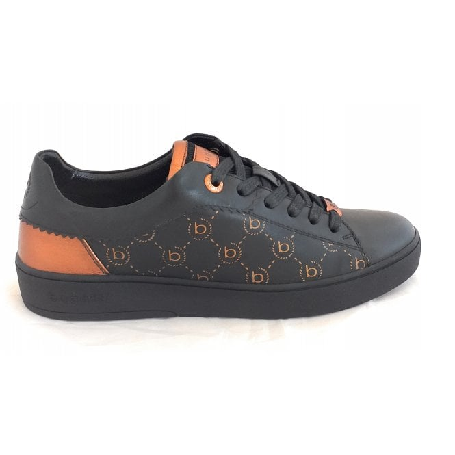 433-A3V02 Ferly Black Leather Trainers