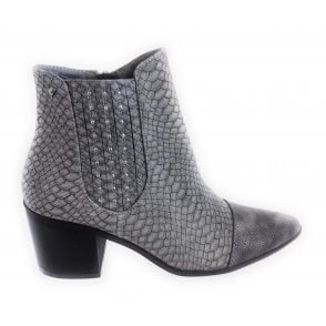 436543 Grey Reptile Print Ankle Boot