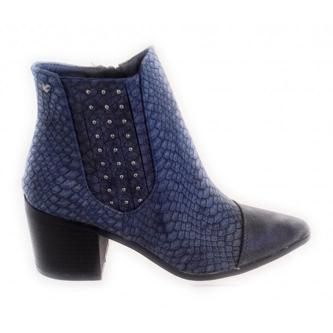 436543 Navy Blue Reptile Print Ankle Boot