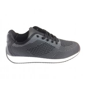 470509 Black and Grey Lace-Up Trainer