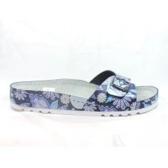 5800 Riesa Blue Multi Leather Open-Toe Mule Sandal
