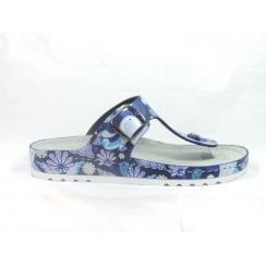 5804 Riesa Blue Multi Leather Toe-Post Mule Sandal