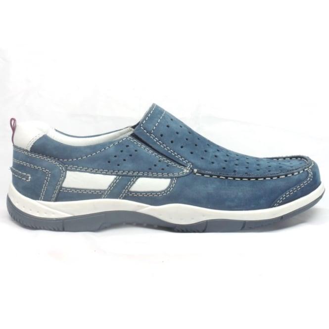 Rohde 5827 Livorno Denim Blue Nubuck Slip-On Casual Shoe