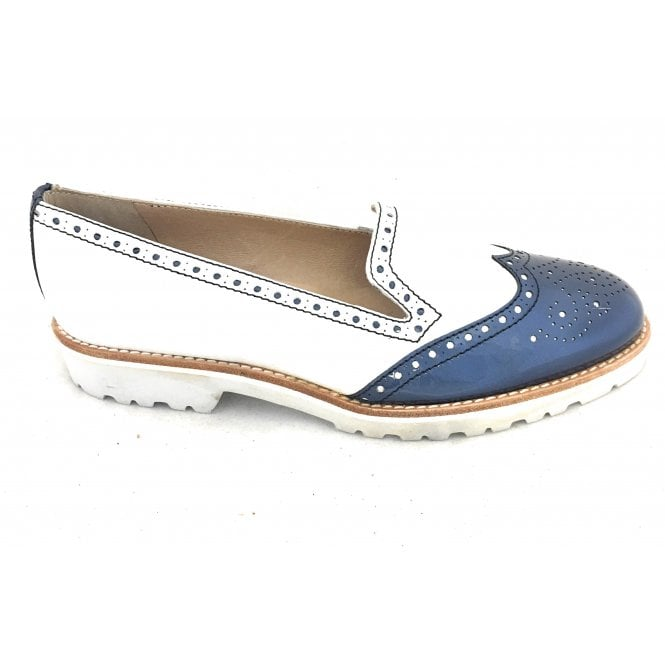 HB 6281 White and Navy Leather Loafer