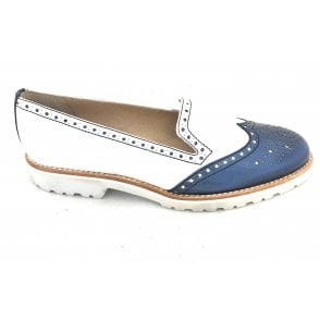 6281 White and Navy Leather Loafer