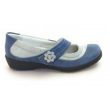 8019T London Blue Leather Casual Shoe