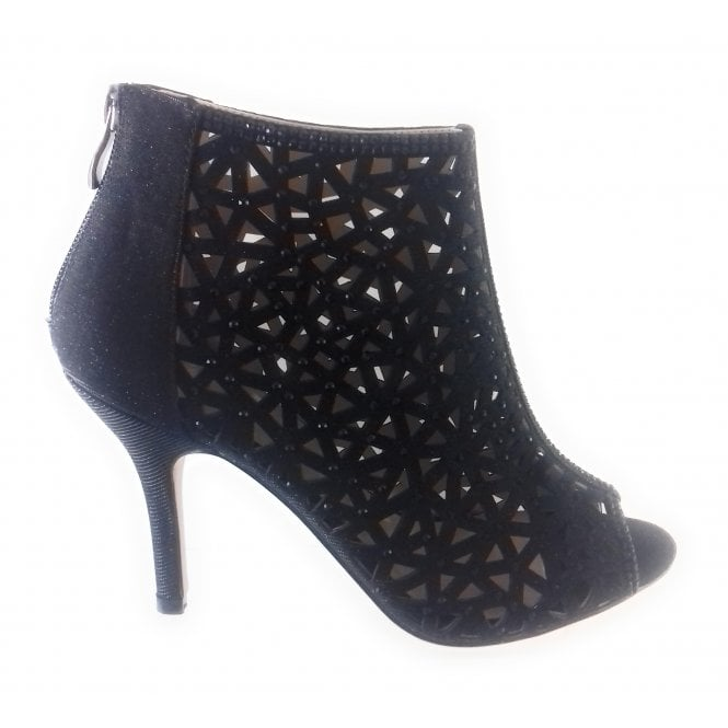 Lotus Abello Black Shimmer Caged Peep-Toe Shoe