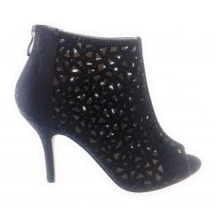Abello Black Shimmer Caged Peep-Toe Shoe