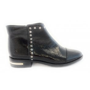 Abrielle Black Crinkle Patent Ankle Boot