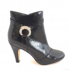 Adar Black Crinkle Patent Ankle Boot