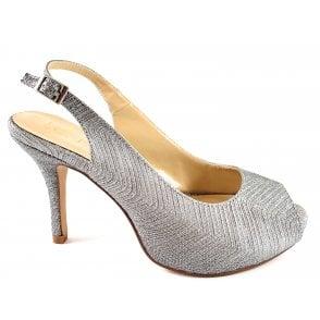 Adora Silver Peep-Toe Sling-Back Shoe