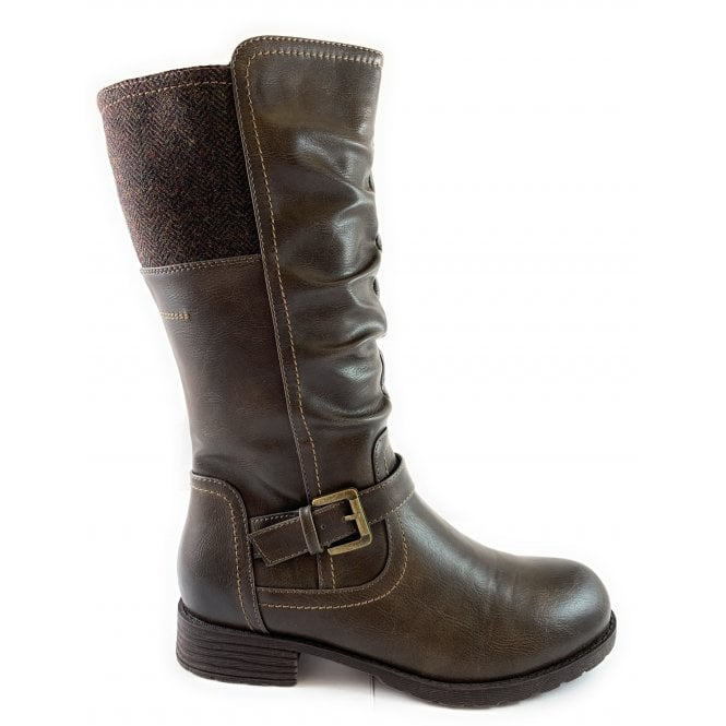 Lotus Adriana Brown Mid-Calf Biker Boot