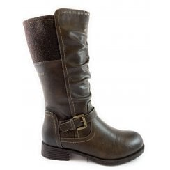 Adriana Brown Mid-Calf Biker Boot