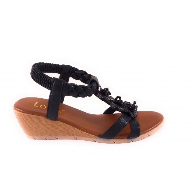 Lotus Aiana Black Wedge Sandal
