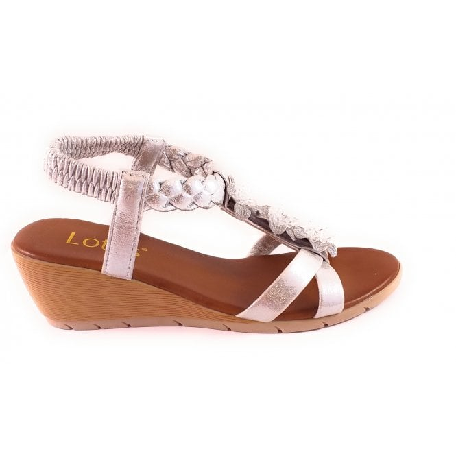 Lotus Aiana Silver Wedge Sandal