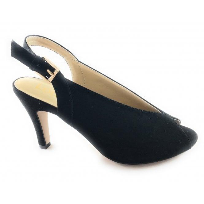 Lotus Akiko Black Microfibre Peep-Toe Shoe