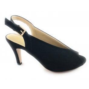 Akiko Black Microfibre Peep-Toe Shoe