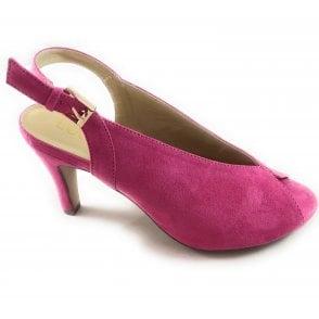 Akiko Fuchsia Pink Microfibre Peep-Toe Shoe