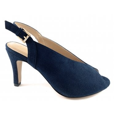 Akiko Navy Microfibre Sling-Back Court Shoe