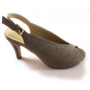 Akiko Taupe Microfibre Peep-Toe Shoe