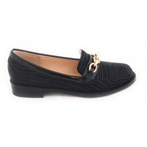 Albe Black Zebra Print Loafers