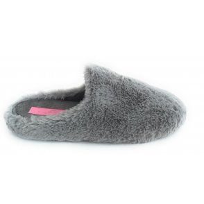 Alicante Grey Faux Fur Mule Slippers