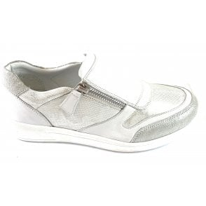 Alicante White Leather Slip-On Casual Shoe