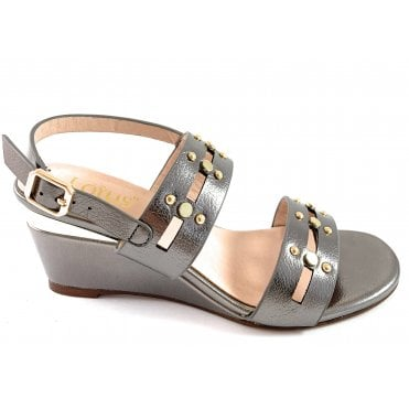 Alice Pewter Wedge Sandal