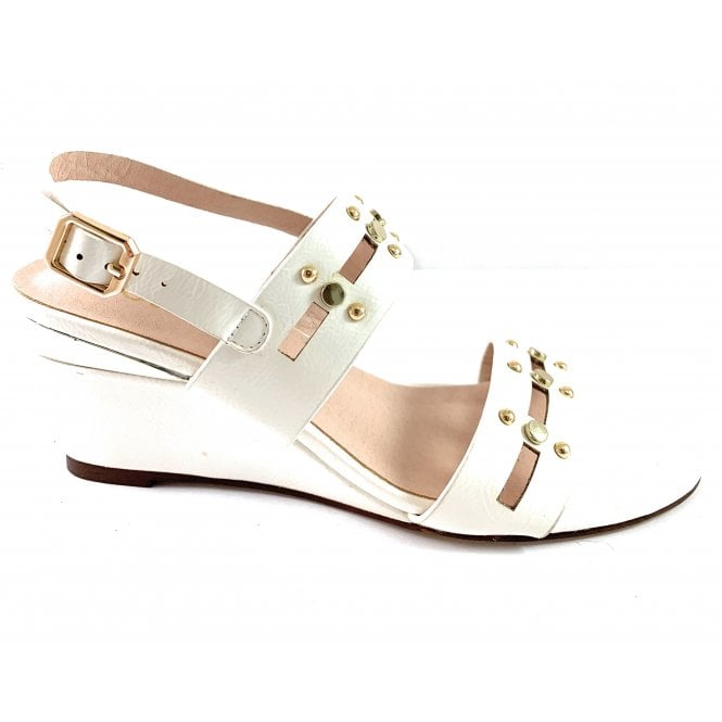 Lotus Alice White Crinkle Patent Wedge Sandal