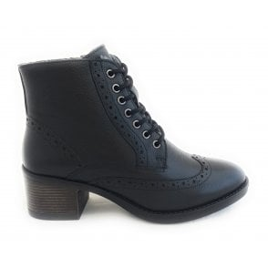 Almira Black Leather Brogue Ankle Boot
