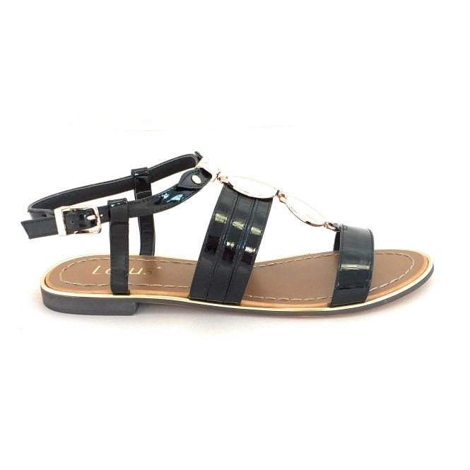 Alpine Black Patent Open-Toe Sandal