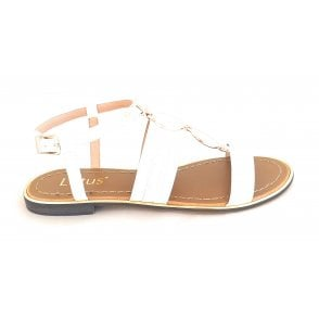 Alpine White Patent Open-Toe Sandal