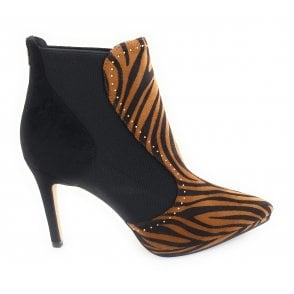 Amancio Black and Tan Zebra Print Ankle Boots