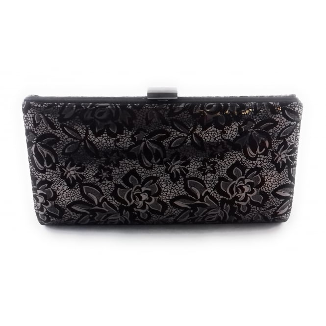 Lotus Amaryllis Black and Pewter Print Clutch Bag