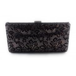 Amaryllis Black and Pewter Print Clutch Bag