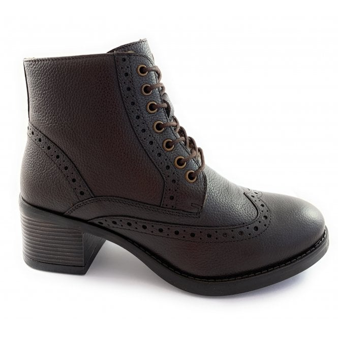 Lotus Amira Brown Leather Lace-Up Brogue Boot