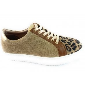 Amsterdam Natural Leather and Leopard Print Casual Shoe