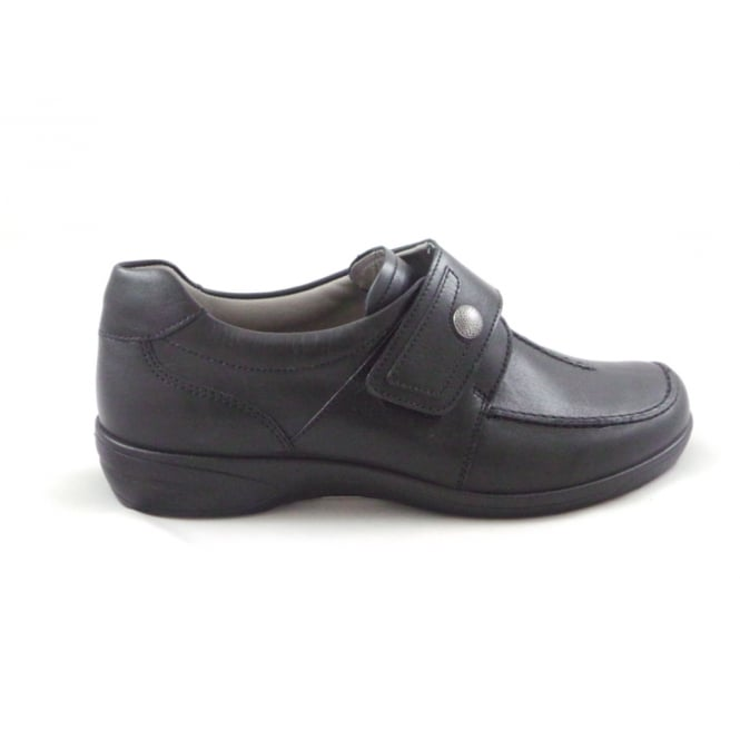 Ara Ancona 12-46374 Black Leather Wide Fit Casual Shoe