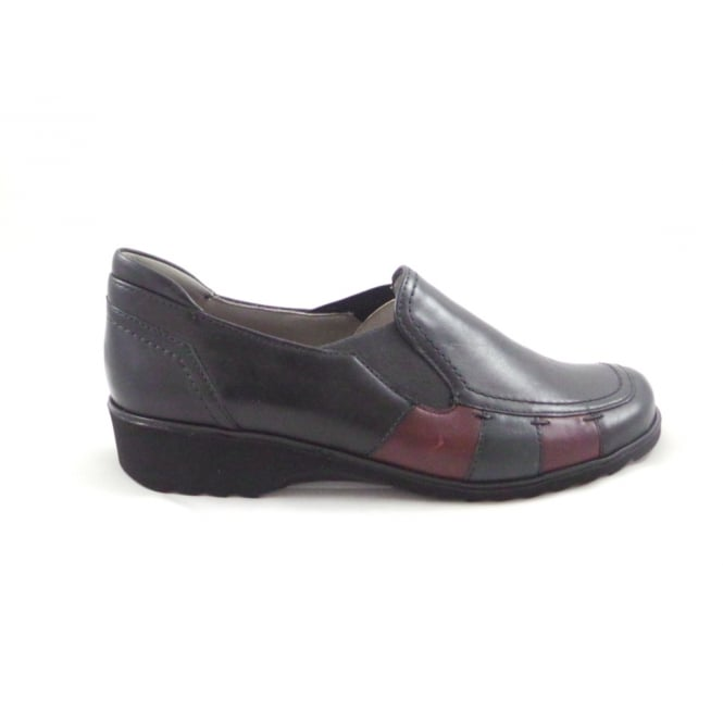 Ara Andros 12-42720 Navy and Burgundy Leather Slip-On Lightweight Casual Shoe