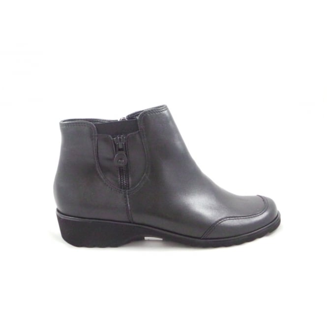 Ara Andros-St 12-42763 Black Leather Lightweight Wedge Ankle Boot
