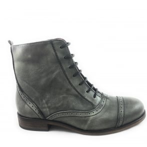 Antique Green Leather Lace-Up Ankle Boot